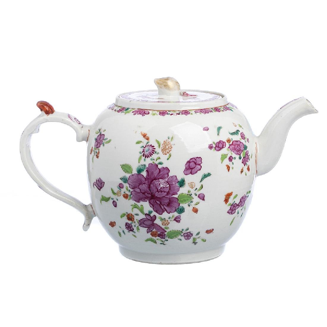 Chinese export  Porcelain floral Teapot, Qianlong