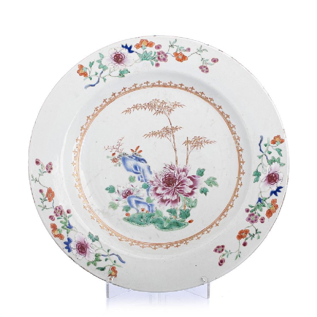 Chinese export Famille Rose large plate
