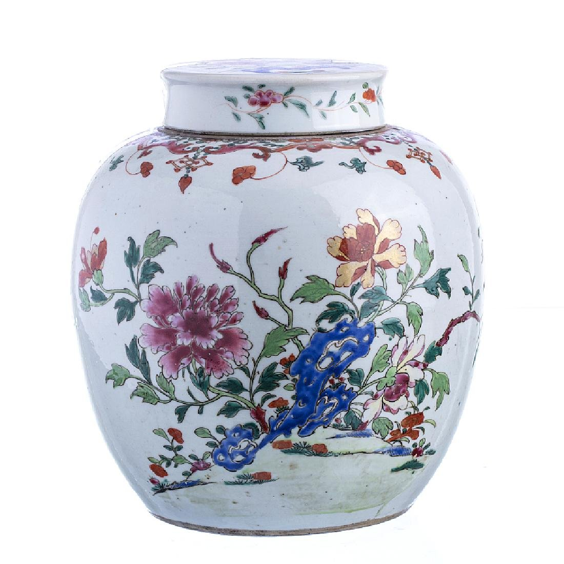 Famille Rose pot with a lid, in Chinese porcelain,