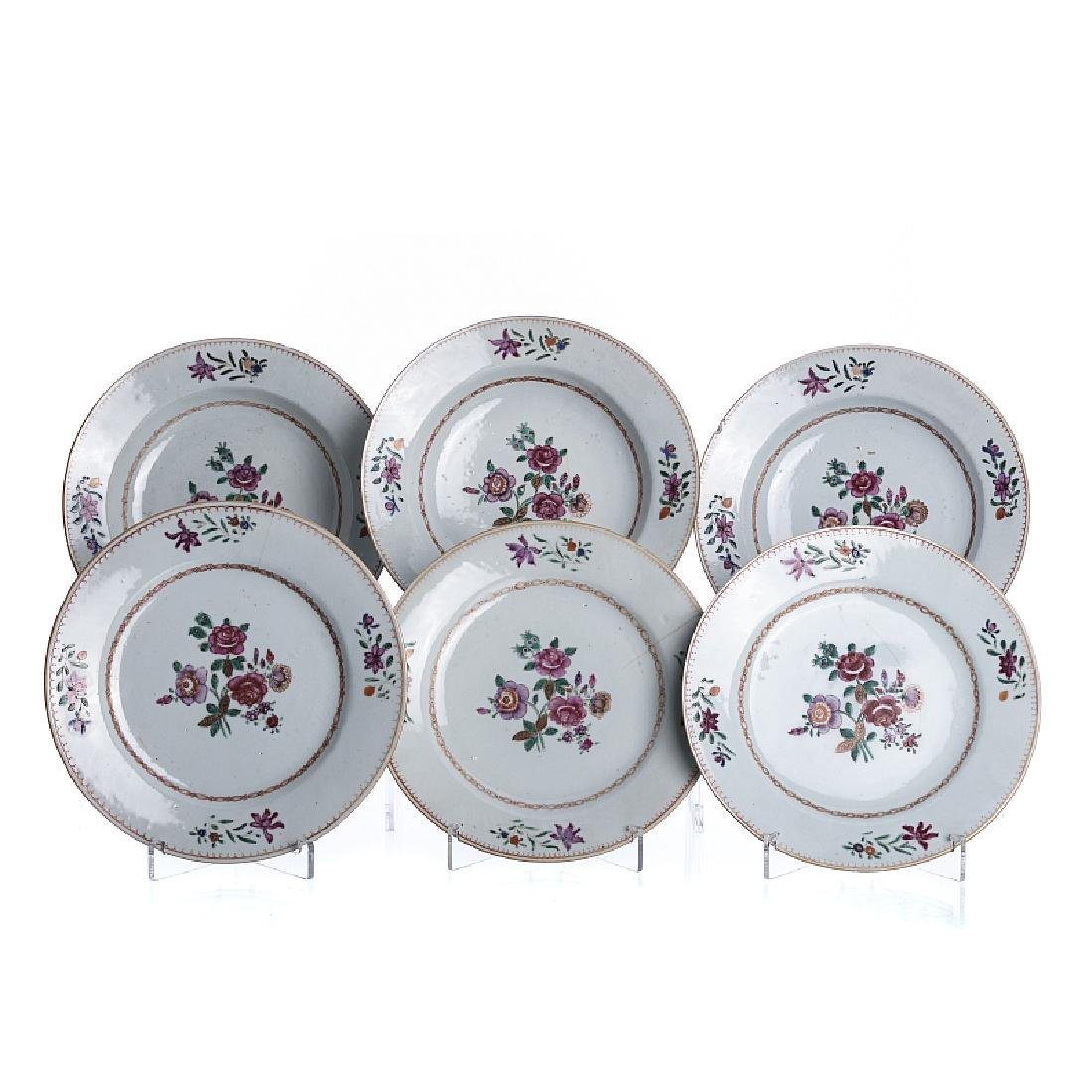 Six plates 'familia rosa' in chinese export porcelain