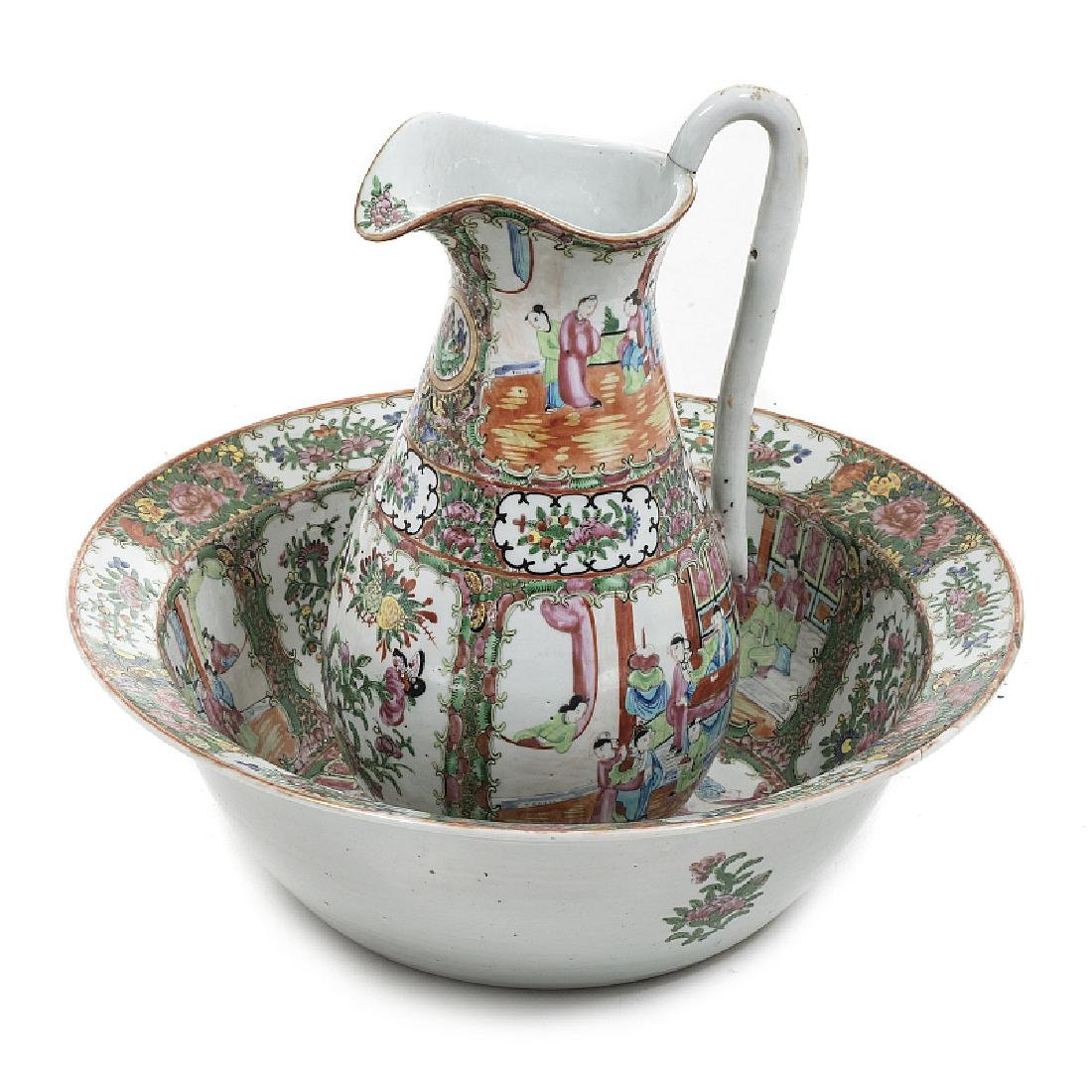 Chinese porcelain basin and ewer