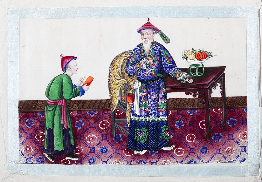 CHINESE SCHOOL, 19th CENTURY - Three figural interior