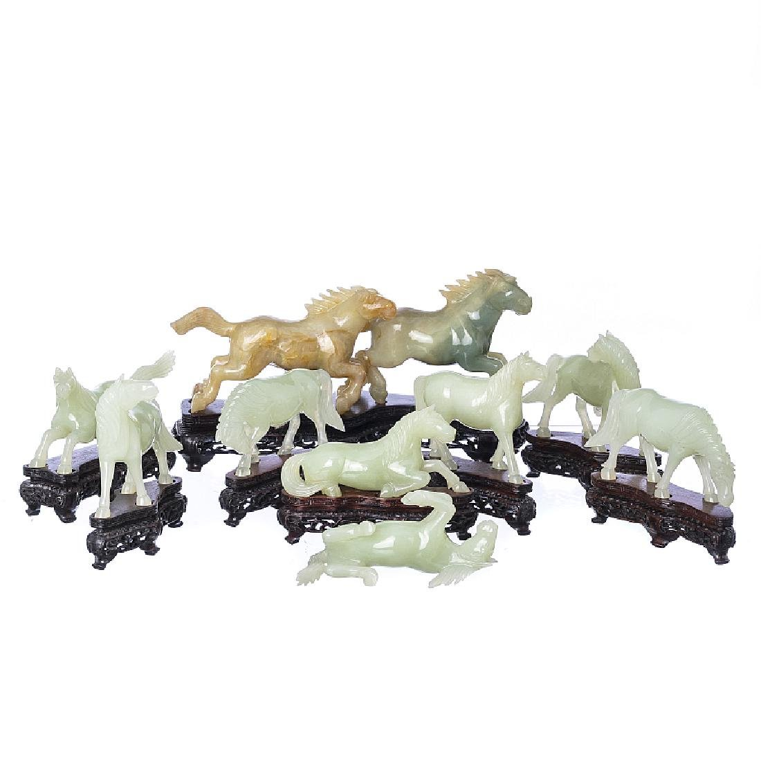 Ten horses in jade stone