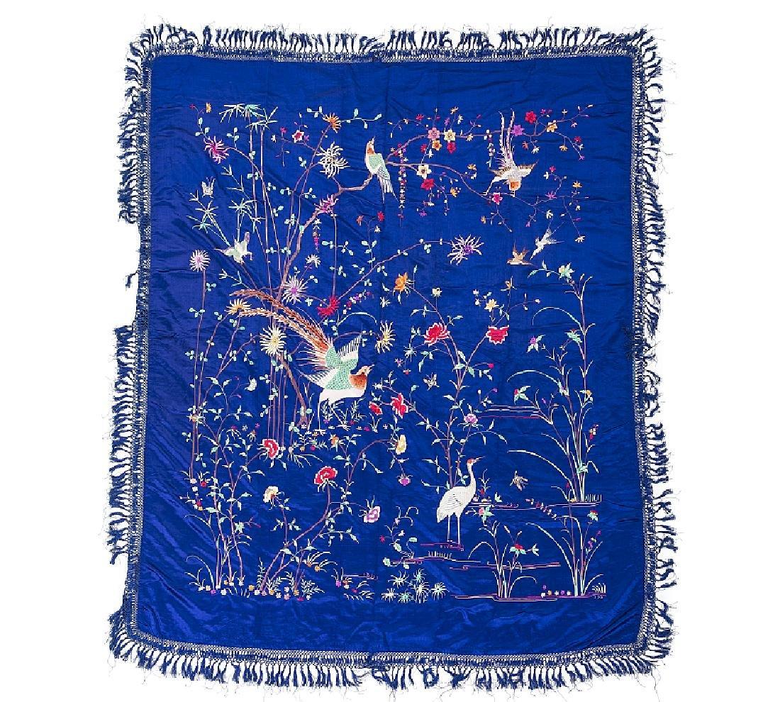 Chinese 'pheonix' silk quilt