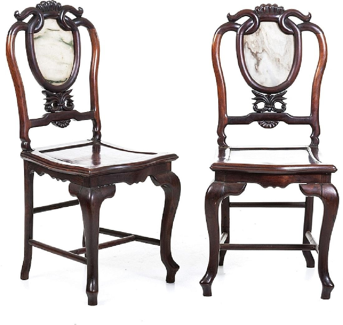 Pair of carved chinese Hongmu chairs