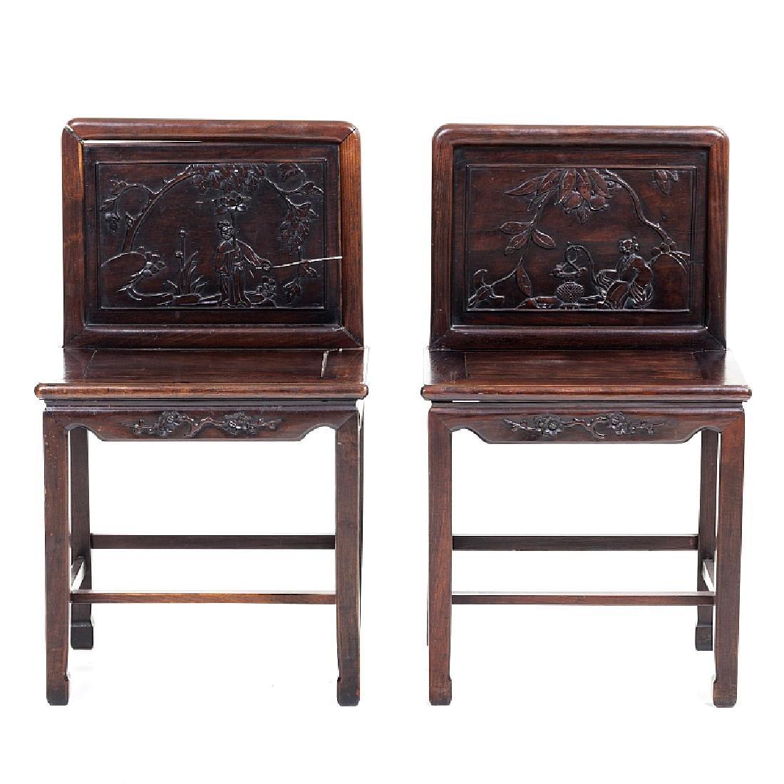 Pair of tamarind wood Chinese chairs