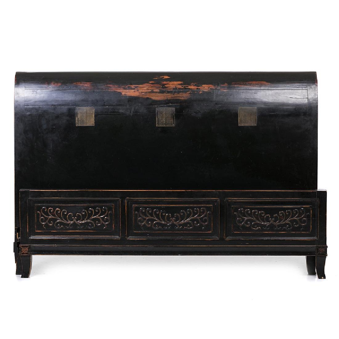 Chinese lacquered bed with inscriptions