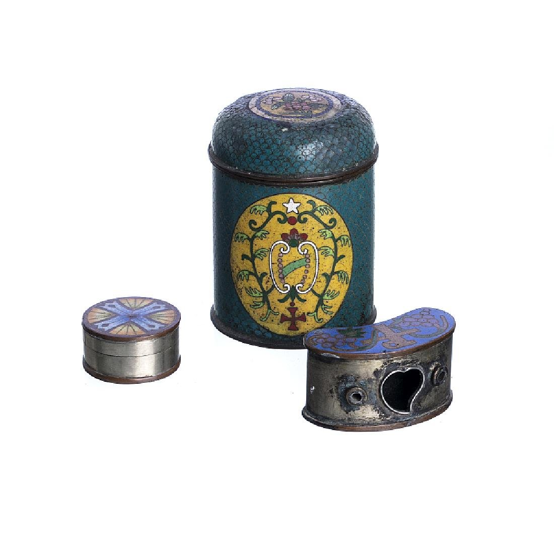 Two boxes and Chinese cloisonné inkwell, Christian