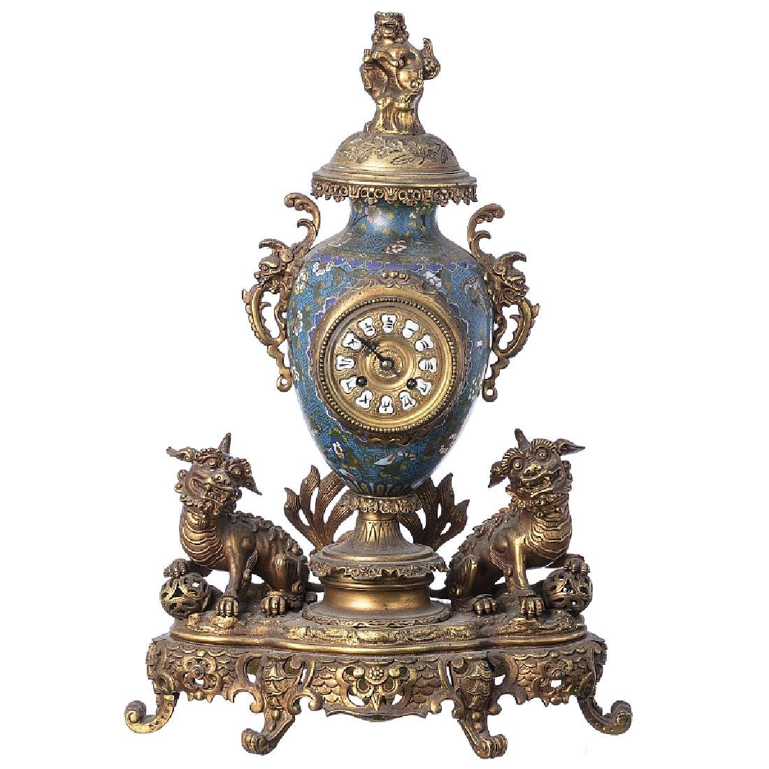 Chinese cloisonne table clock with garniture