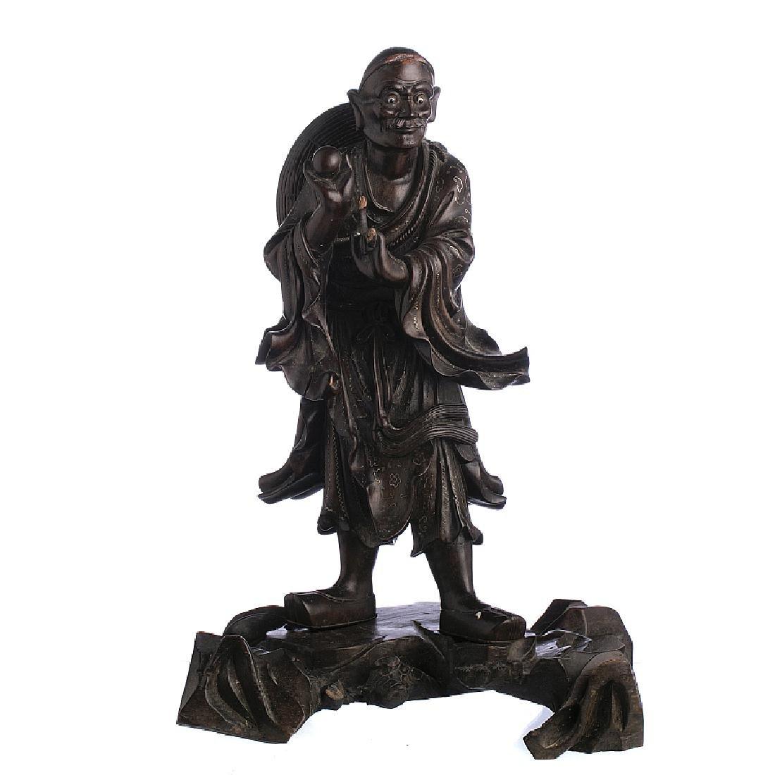 Chinese silver inlaid wooden elder, Minguo