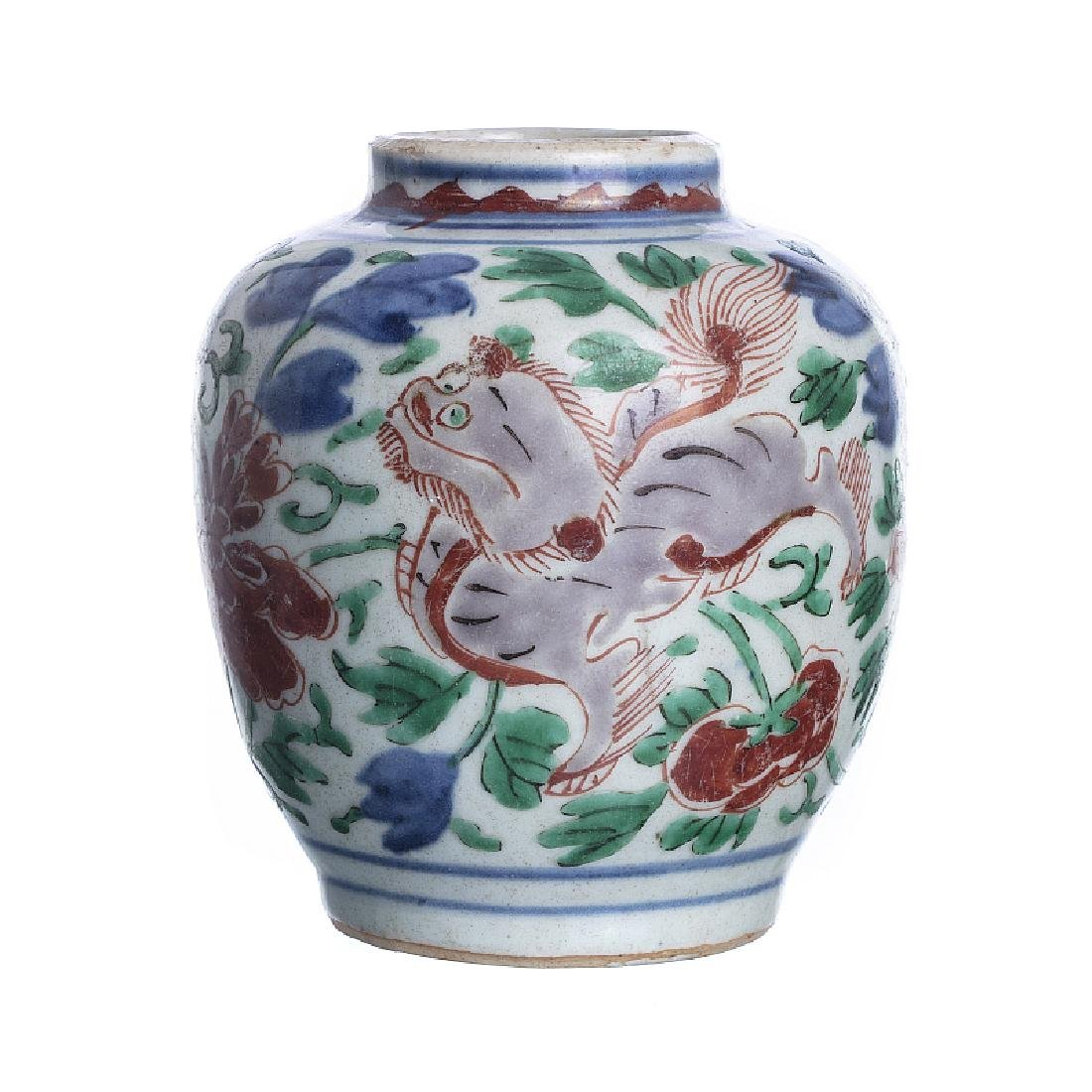 Qilins' pot in Chinese porcelain Ming