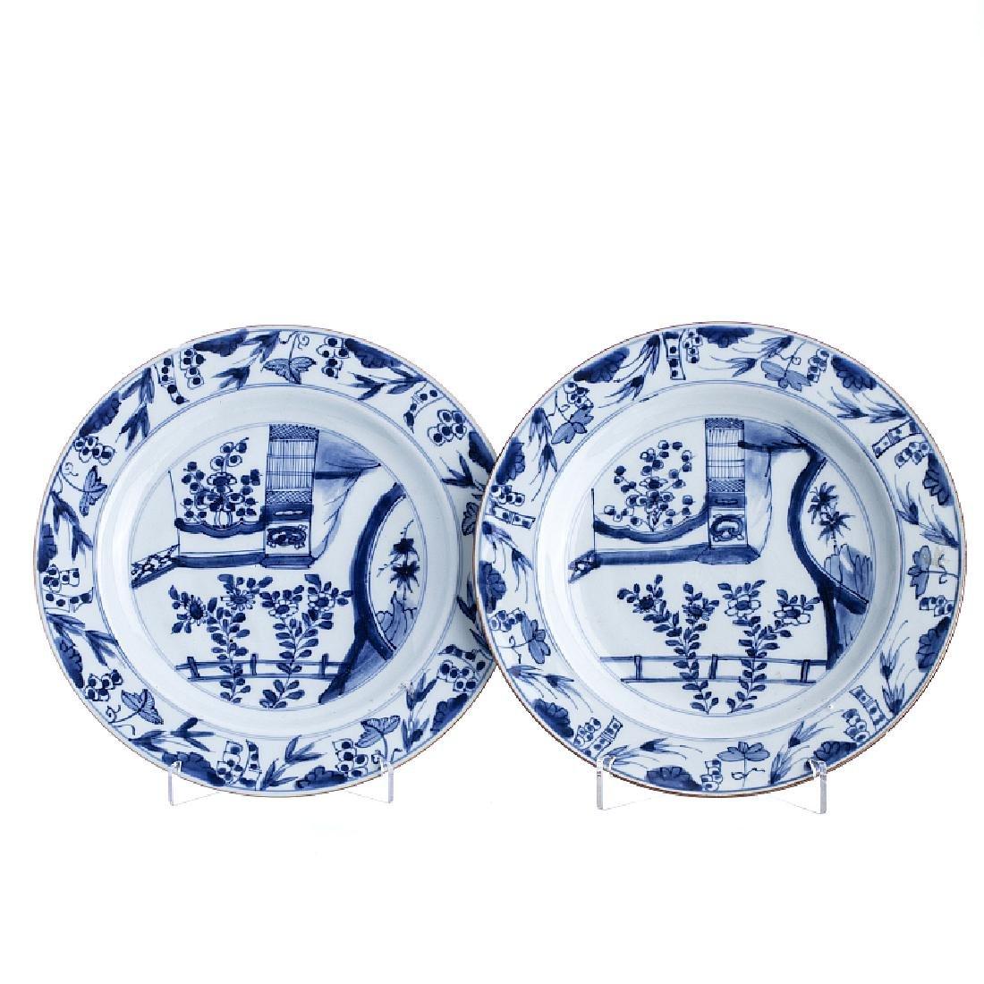 """Pair of """"bids†plates in Chinese porcelain, Kangxi"""