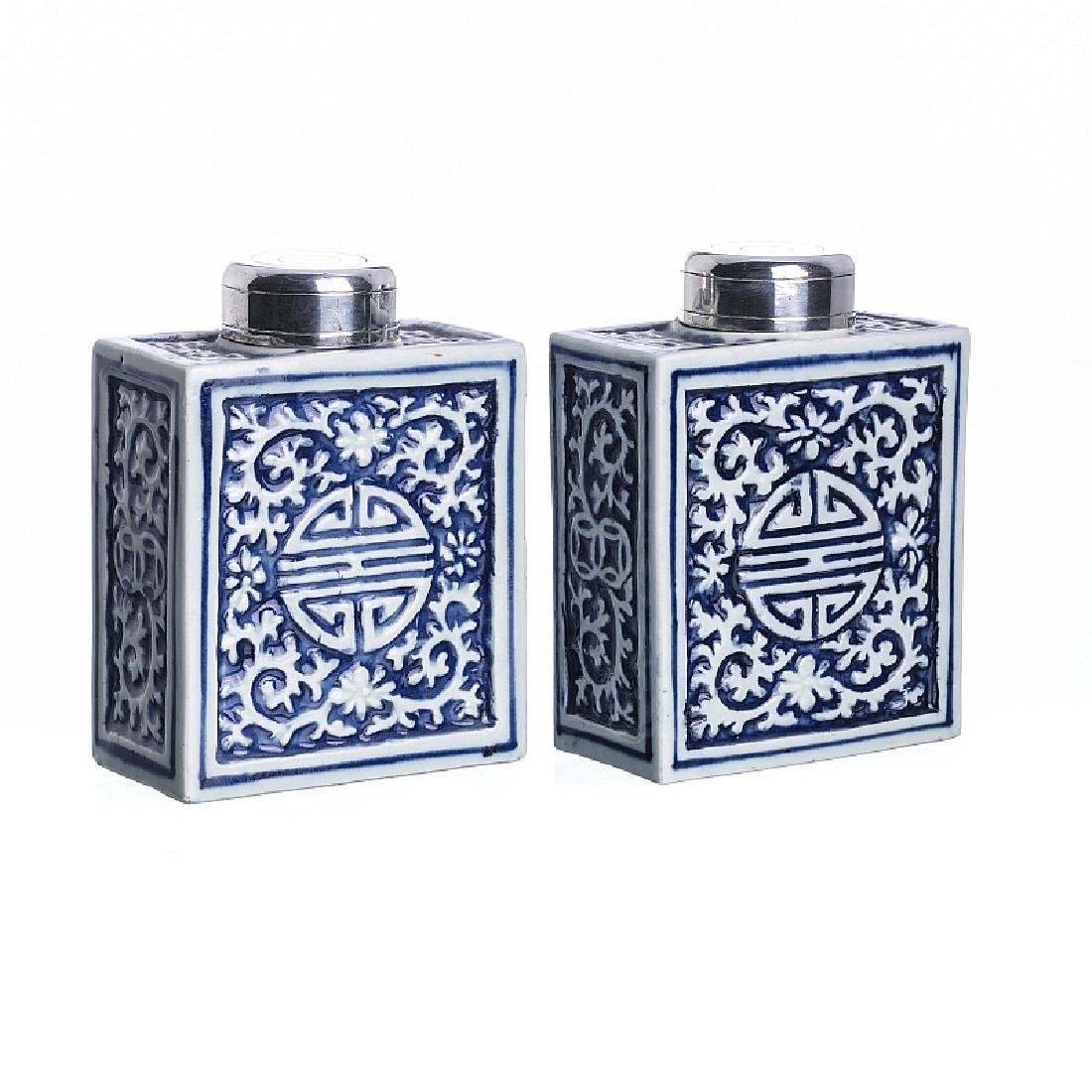 Pair of tea caddy in Chinese porcelain, Jiaqing