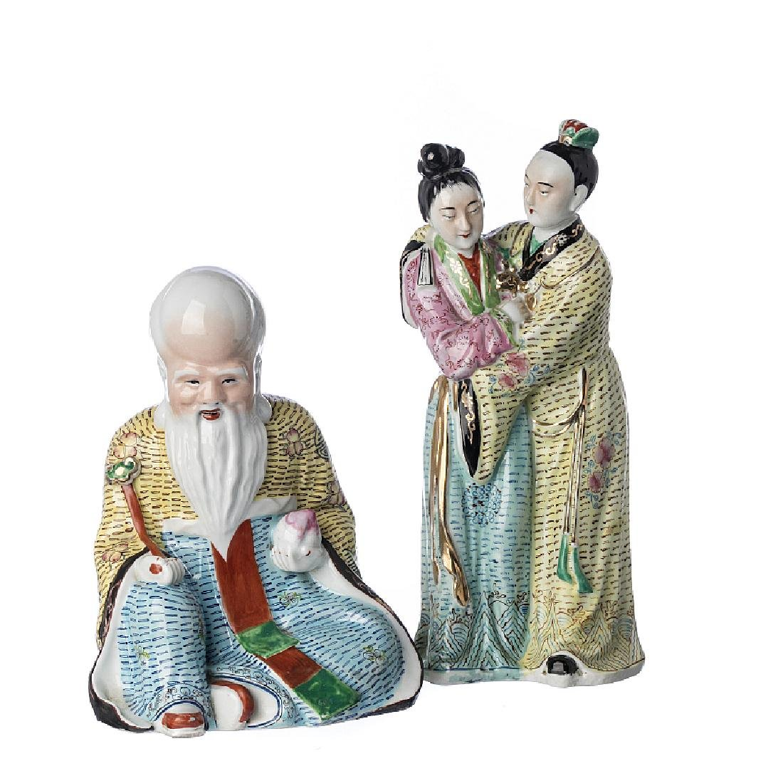 Couple and Buddha in Chinese porcelain