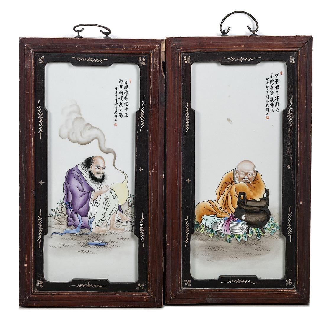 Pair of plaques 'Elders' in Chinese porcelain