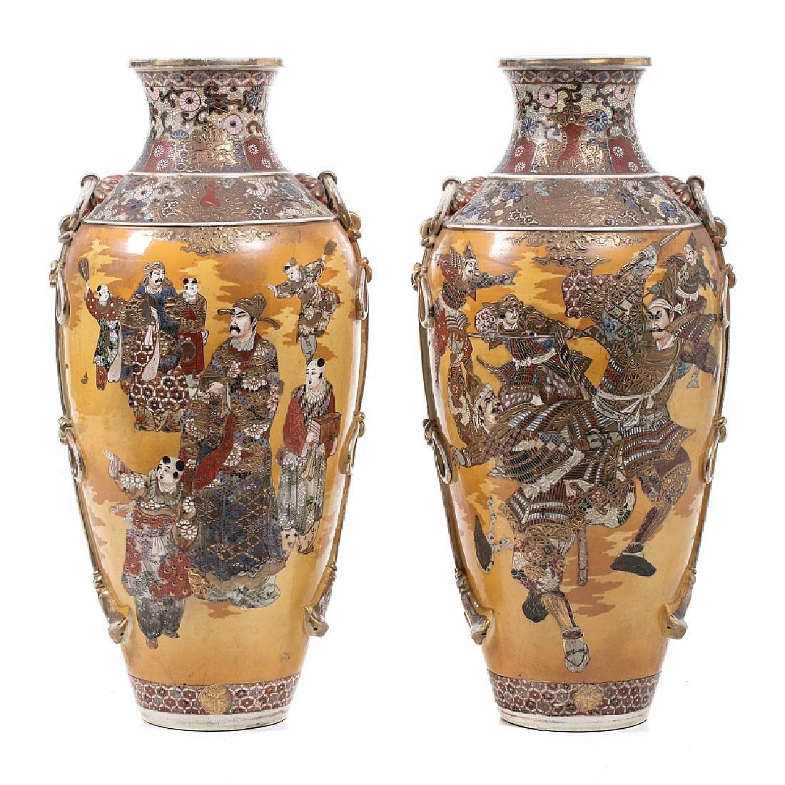 Pair of ceramic vases from Satsuma
