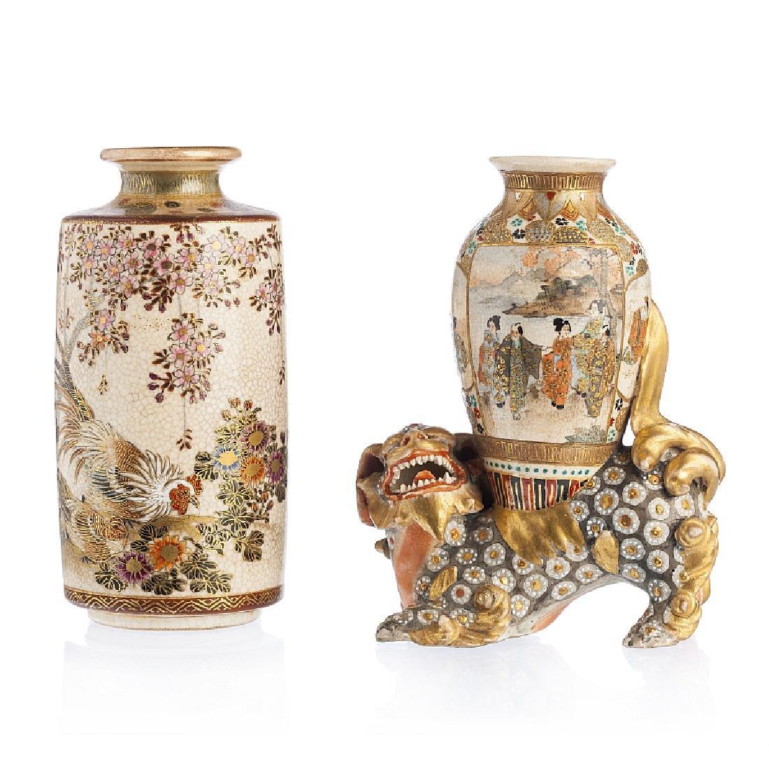 Two vases in Satsuma ceramic