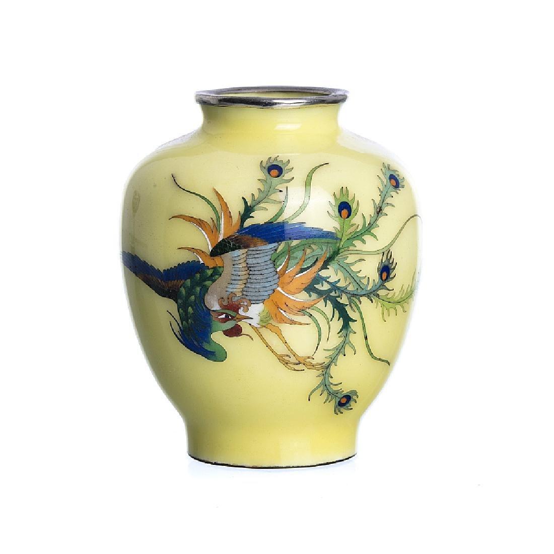 Small jar 'phoenix' in Japanese cloisonne