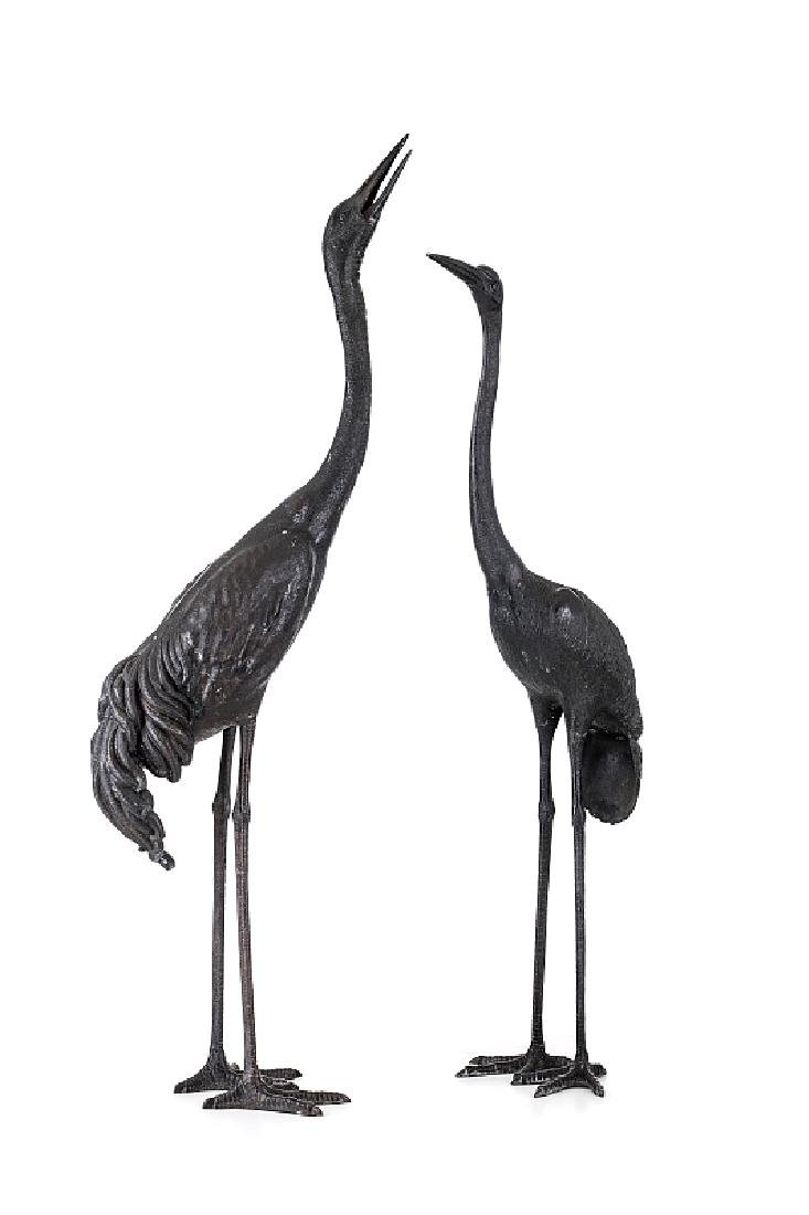 Pair of great Grous sculptures in  bronze