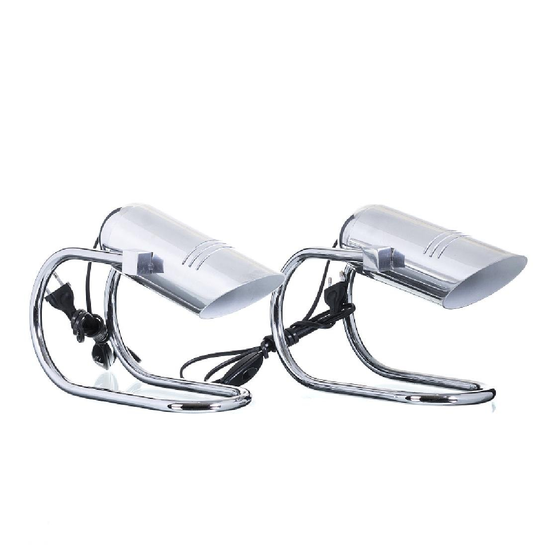Pair of chromed modernist desk lamps
