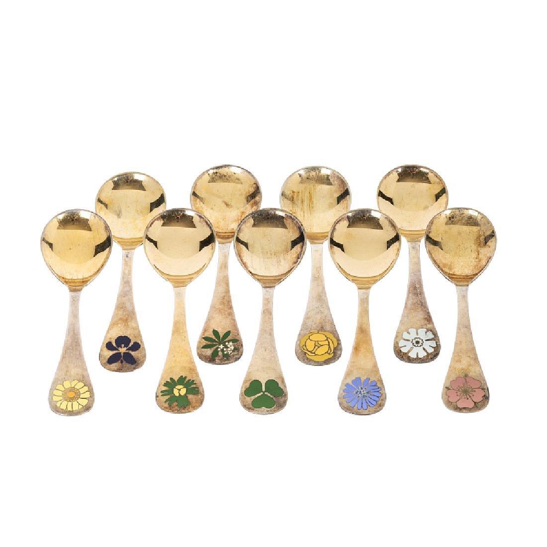 GEORG JENSEN - Nine 'Year' enamel silver spoons