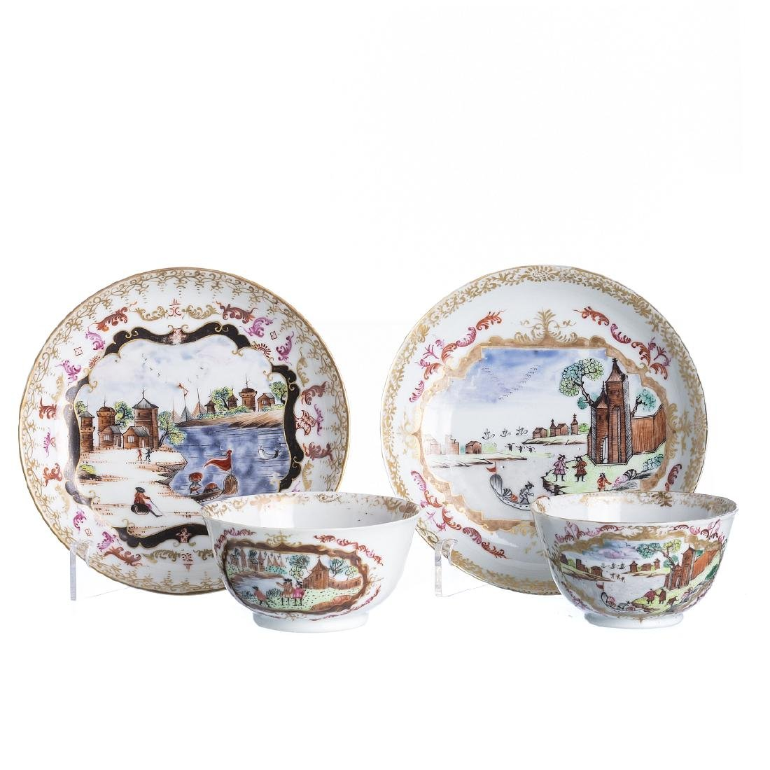 Pair of Meissen style Chinese porcelain cups and