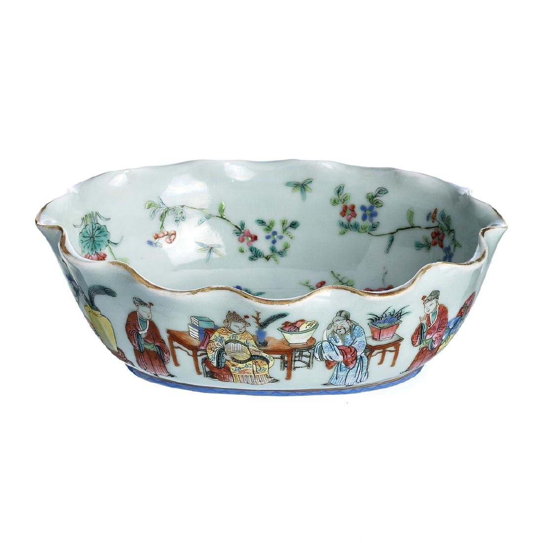 Oval bowl in chinese porcelain celadon, Tongzhi
