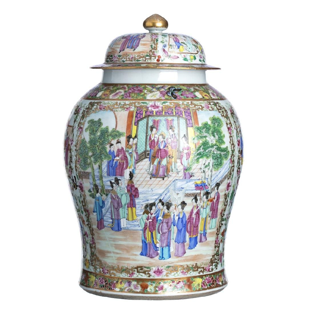 Chinese porcelain figural pot and cover, Daoguang
