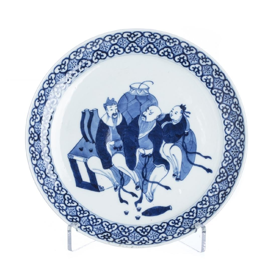 Plate 'Dignitaries' in chinese porcelain, Guangxu