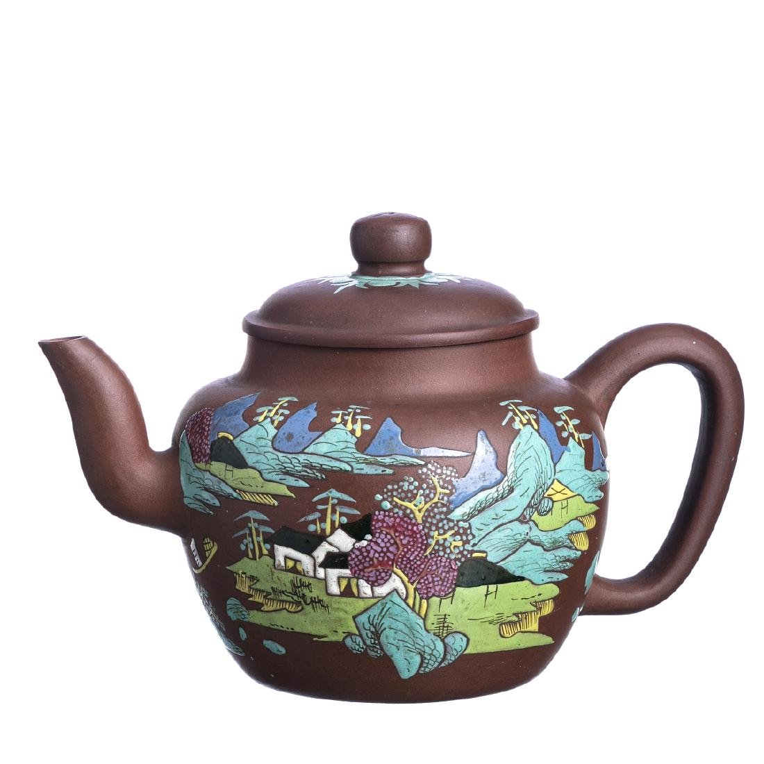 Large teapot with a 'landscape' in Chinese Yixing