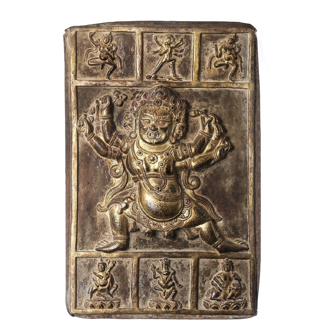 Tibetan Mahakala plaque in golden copper