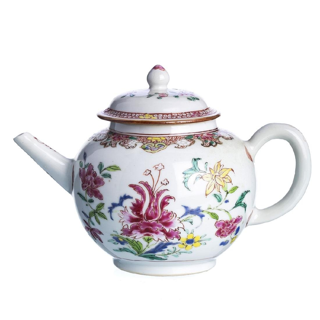Chinese porcelain 'flowers' teapot, Qianlong