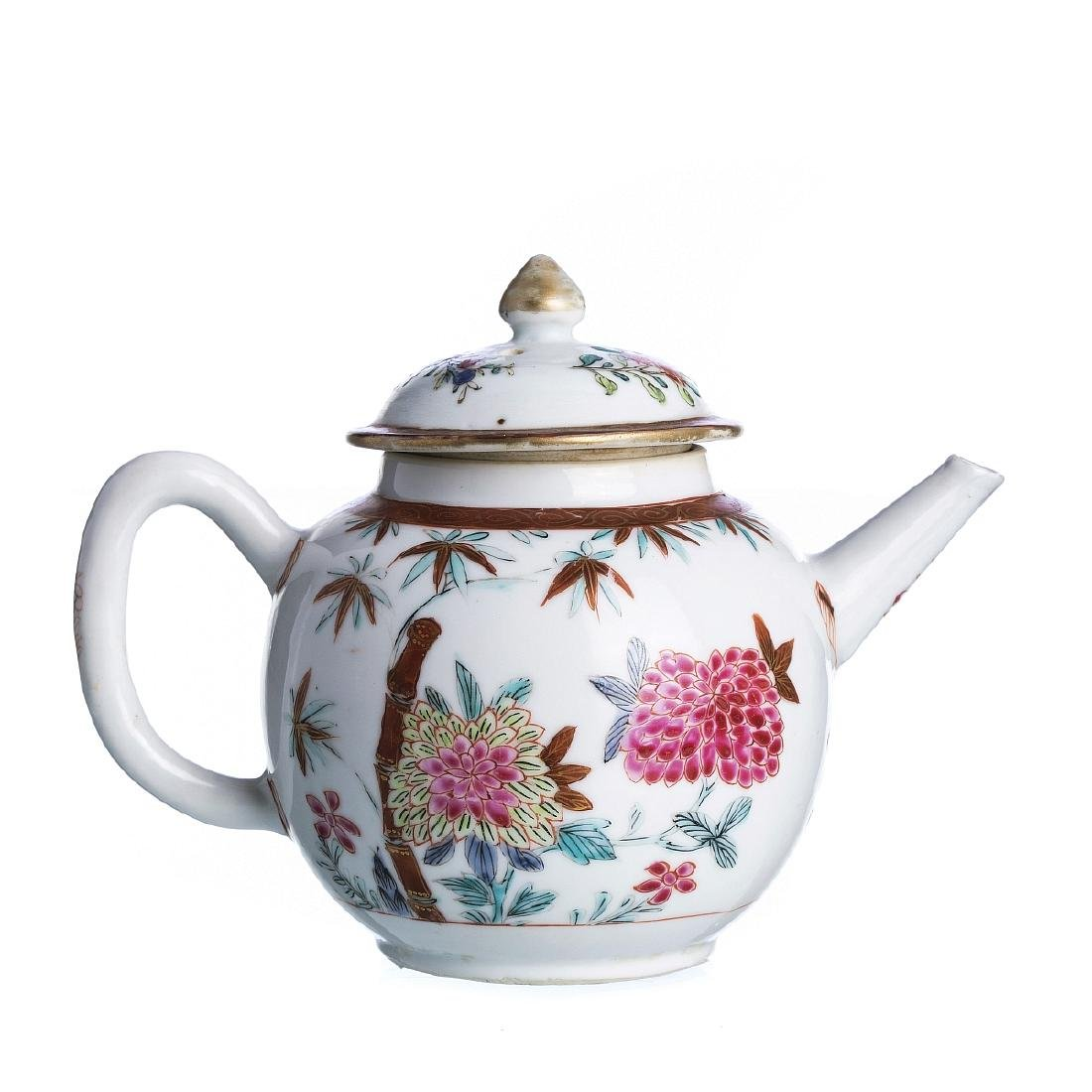 Chinese porcelain 'flowers and bamboo' teapot, Qia