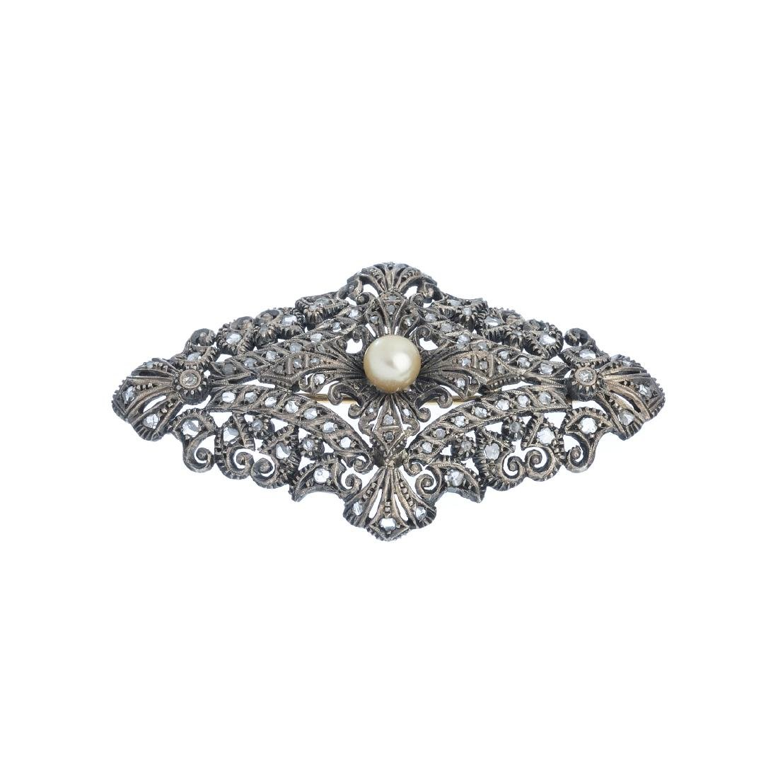 Gold and silver brooch with diamonds and pearls