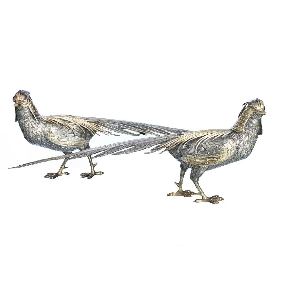 Pair of pheasants in Spanish Silver