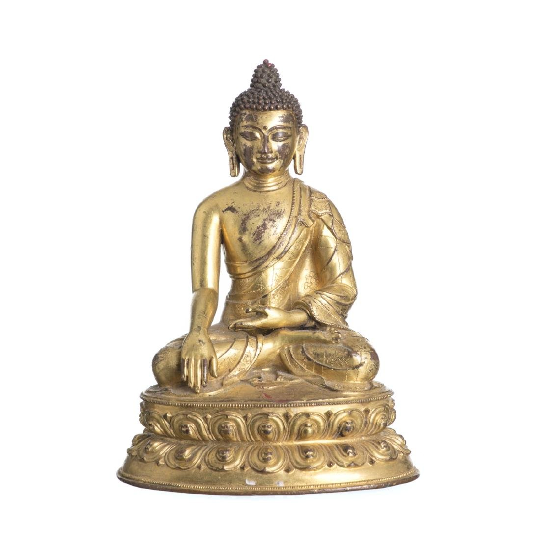 Tibetan gilt bronze Akshobhya Buddha
