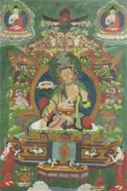 Large Tibetan Thangka, 17thC
