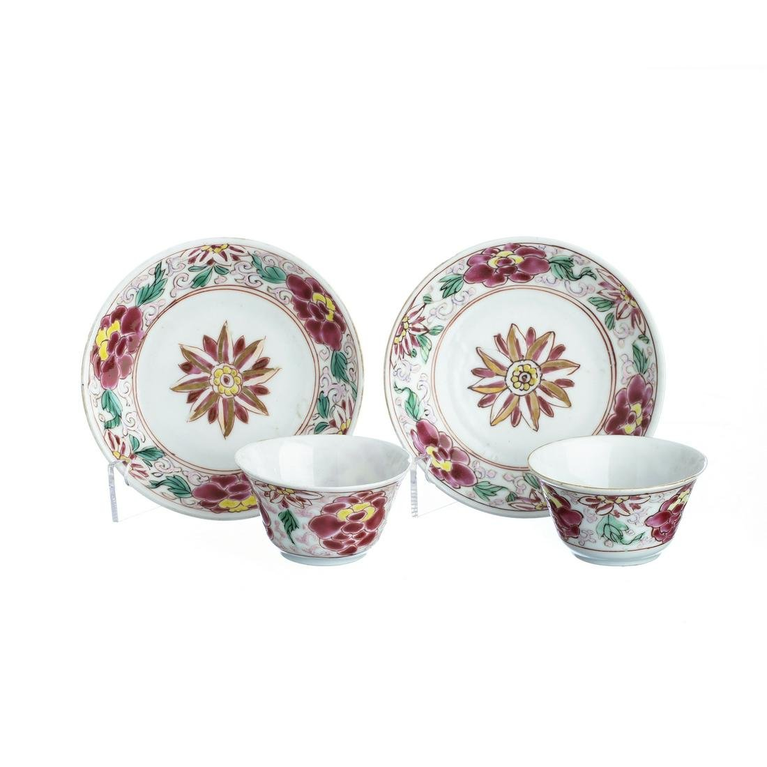 Pair of Chinese Porcelain cups and saucer, Yongzheng