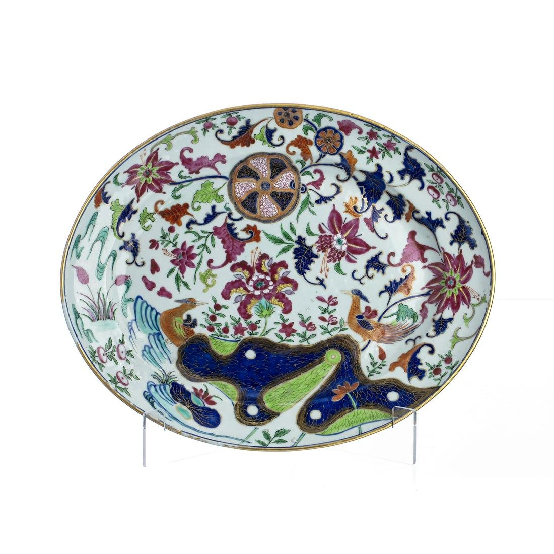 Chinese Porcelain 'pseudo tobacco leaf' oval Platter,