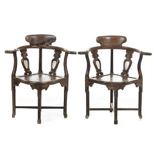 Pair of chairs with curved arms Minguo