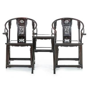 Pair of armchairs with side table Minguo