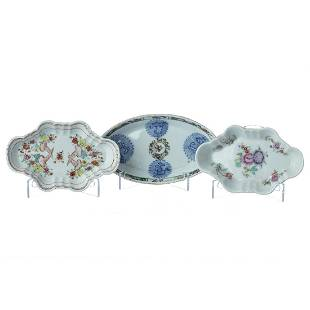 Three chinese porcelain small plates