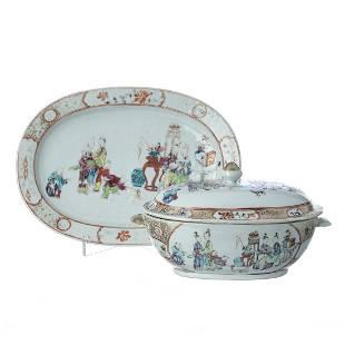 Mandarin Chinese porcelain tureen