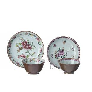 Two Chinese Porcelain Chocolate Family Teacup and