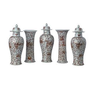 A fivepiece Chinese porcelain garniture Qianlong