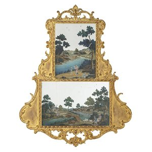 Large Chinese Export Painting on mirro with giltwood