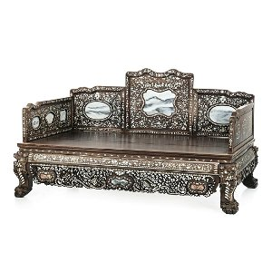 Chinese bed with inlaid mother of pearl, Guangxu