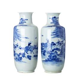 Pair of large 'boy and buffalo' vases in Chinese