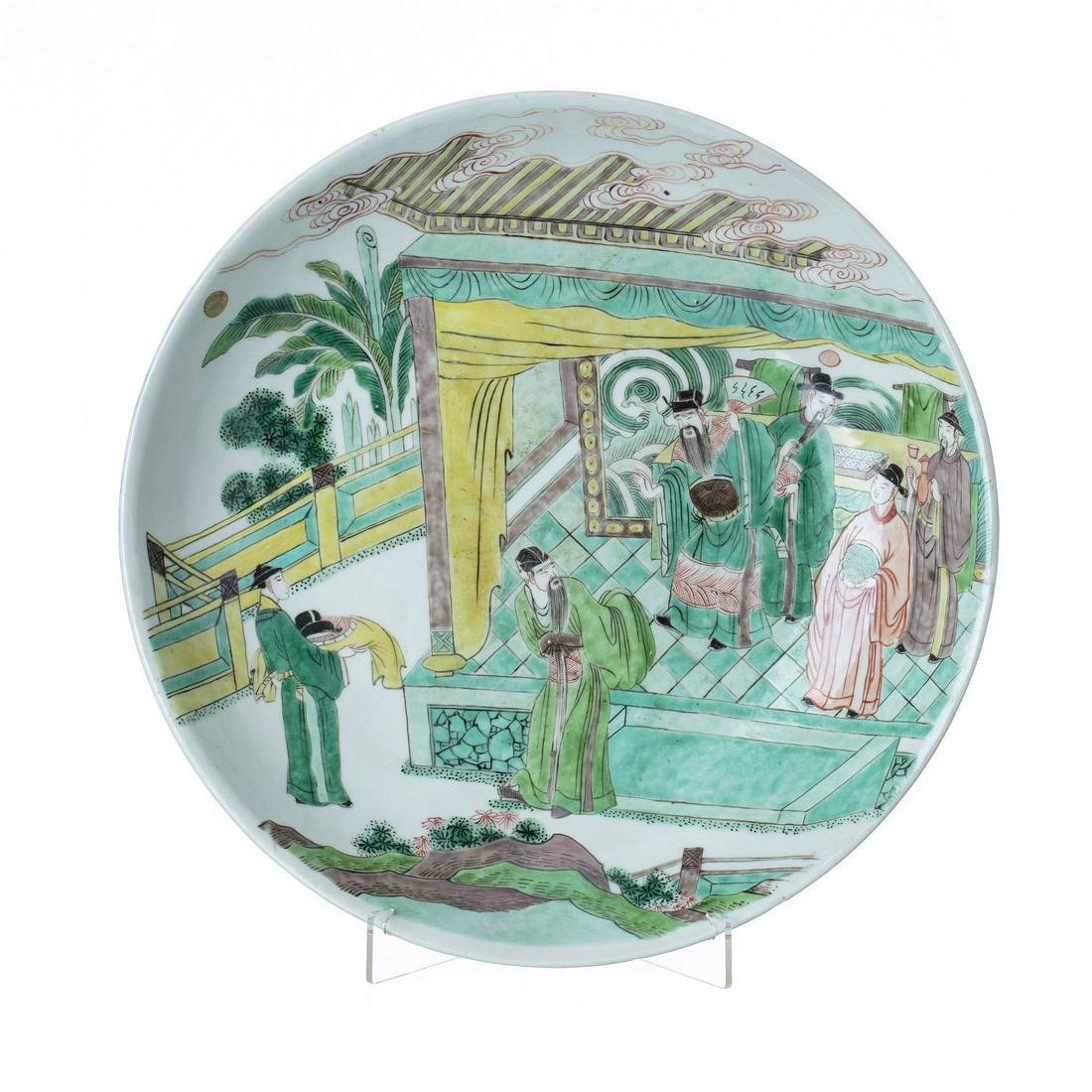 Large  Chinese porcelain figural famille-verte plate,