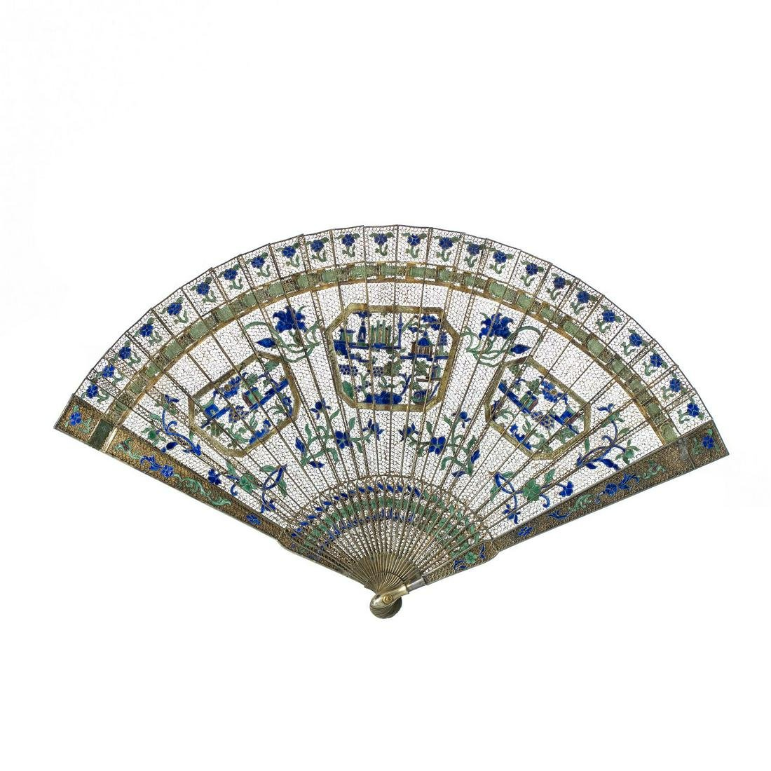Chinese silver gilt fan with enamels